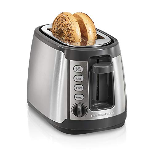 Hamilton Beach 2 Slice Extra Wide Slot Toaster with Shade Selector, Bagel, Keep Warm and Defrost Settings, Auto-Shutoff and Cancel Button, Silver and Grey (22816)