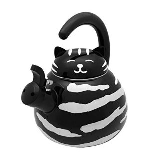 Gourmet Art Black Cat Enamel-on-Steel Whistling Kettle