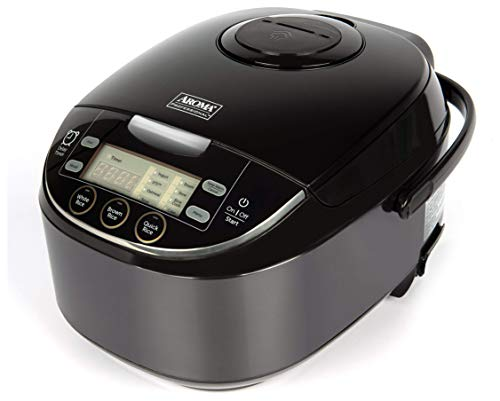 Aroma Housewares ARC-6106AB Japanese Style, Multi, Rice Warmer, Steamer, Saute-Then-Simmer, Cake Maker, Slow Cooker, 6-Cup Uncooked, Black