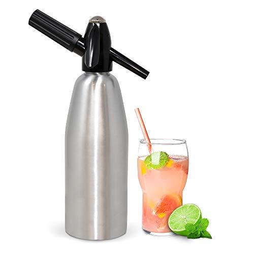 1 Liter Aluminium Soda Siphon Fizz Maker, Seltzer Water Creator, Soda Machine Carbonator Water Dispenser and 20 Pack Liss 8 Gram Co2 Cartridges