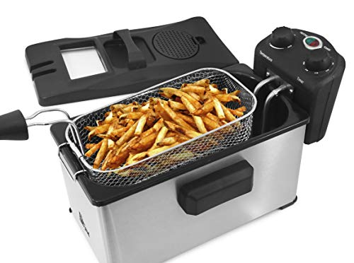 Triple Basket Electric Deep Fryer with Timer and Temperature Knobs