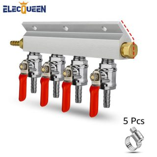 9mm Hose Barb 4 Way Beer Gas Manifold Splitter with Check