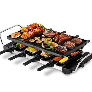 Fast Heating BBQ Raclette Griddle with Nonstick Grill Plate