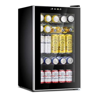 Beverage Refrigerator Cooler-85 Can Mini Fridge Glass Door