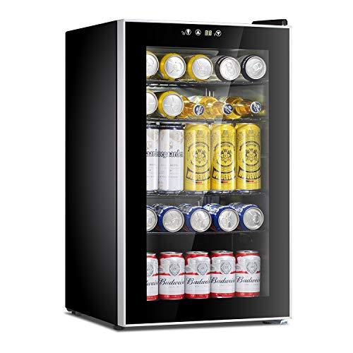 Beverage Refrigerator Cooler-85 Can Mini Fridge Glass Door