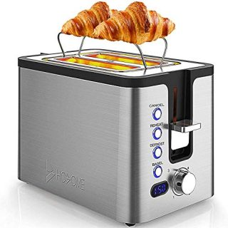 2 Slice Toaster, Hosome Stainless Steel Bread Bagel Toaster Extra Wide Slots Toasters with Warming Rack, 6 Shade Settings, LED Display, Removable Crumb Tray, Bagel/Defrost/Reheat/Cancel Function, 800W