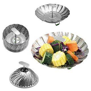 "kitchen Steamer Basket Premium Stainless Steel Steamer Basket Folding Expandable Vegetable Steamer Basket Fits Various Size Pots(5.5"" to 9"")"