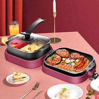 2000W Foldable Electric Smokeless Grill and Hot Pot
