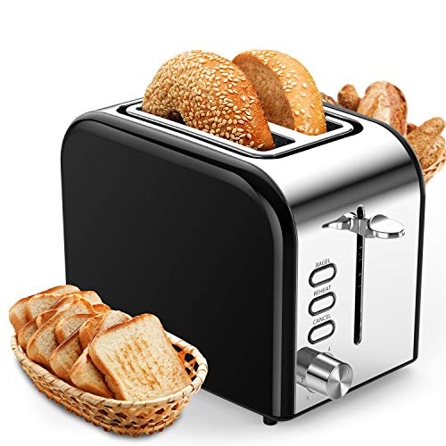 Toasters 2 Slice Best Rated Prime Wide Slot 2 Slice Toaster 1.5in with Bagel/Reheat/Cancel Function Stainless Steel Cool Touch Black Toaster for Bread with Removable Crumb Tray