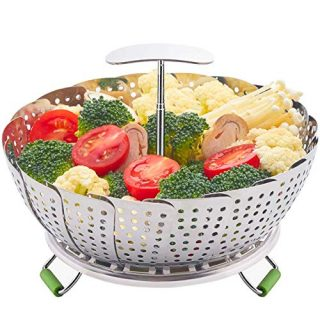"""Food Steamer Basket, Stainless Steel Kitchen steamer Collapsible Steamer, Insert for Veggie Fish Seafood Cooking, Expandable to Fit Various Size Pot (5.9"""" to 9.3"""") S 190903"""