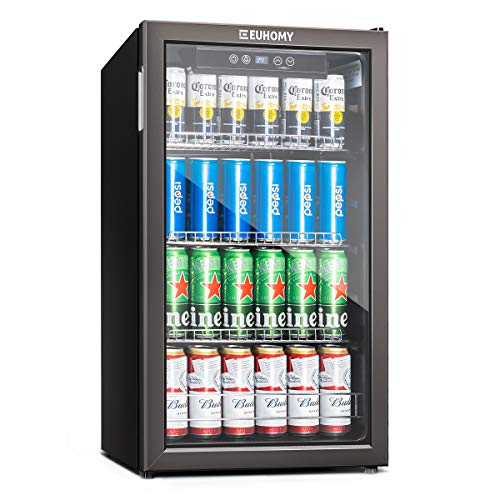 115-120 Can Mini fridge with Glass Door, Beverage Refrigerator and Cooler