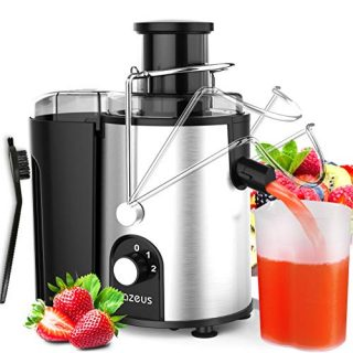 [ Unique Version] AZEUS Centrifugal Juicer Machines, Juice Extractor with Germany-Made 163 Chopping Blades (Titanium Reinforced) & 2-Layer Centrifugal Bowl, High Juice Yield, Easy to Clean, Anti-Drip,100% BPA-Free, ETL Listed, Catcher & Brush Included