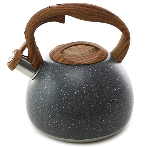 Teapot Loud Whistle for Stovetops Wood Pattern Handle