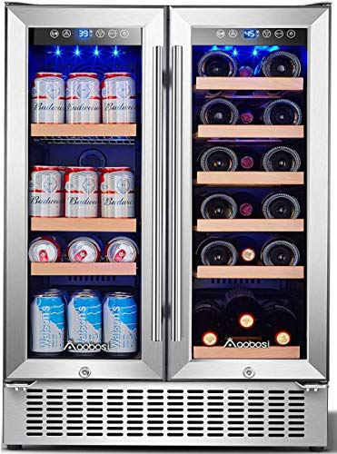 Aobosi 24 Inch Beverage and Wine Cooler Dual Zone