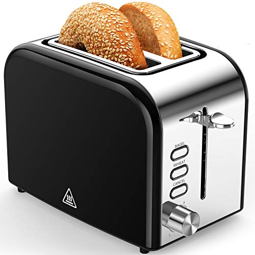 Toasters 2 Slice Best Rated Prime 1.5in Wide Slot with Bagel/Reheat/Cancel Function Stainless Steel Cool Touch 2 Slice Black Toaster for Bread with Removable Crumb Tray