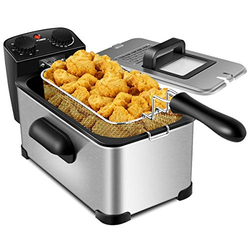 Stainless Steel Deep Fryer -3.2qt Oil Container Lid w/View Window