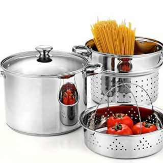 Cook N Home, Stainless Steel 4-Piece 8 Quart Pasta Cooker Steamer Multipots