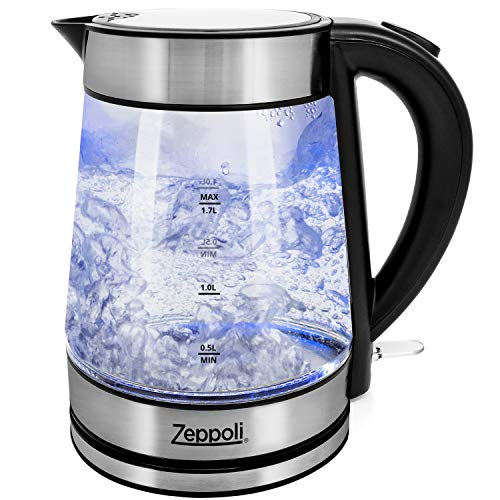 Glass Tea Kettle (1.7L) Fast Boiling and Cordless