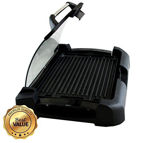 Aluminum Reversible Indoor Grill and Griddle with Removable Glass Lid