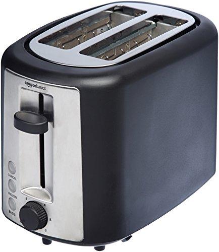 AmazonBasics 2 Slice, Extra-Wide Slot Toaster with 6 Shade Settings, Black