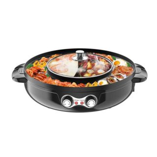 ETE ETMATE 2 in 1 Electric Smokeless Grill and Hot Pot Electric Hot Pot Grill Indoor 2200W Indoor Multifunctional Hot Pot Split-Design Baking Tray for Easy Cleaning Capacity for 6 People, 110V