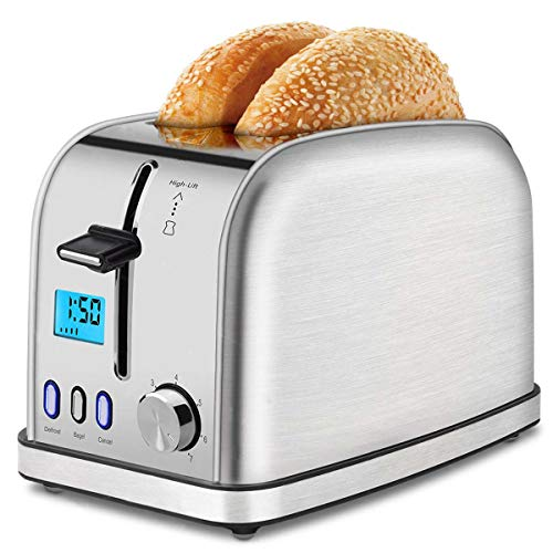Toaster 2 Slice Best Rated Prime Toasters LCD Dispaly Stainless Steel Bagel Toaster 7 Bread Settings, Bagel/Defrost/Cancel,Extra Wide Slots Stainless Steel Toaster, Removable Crumb Tray, 900W, Silver
