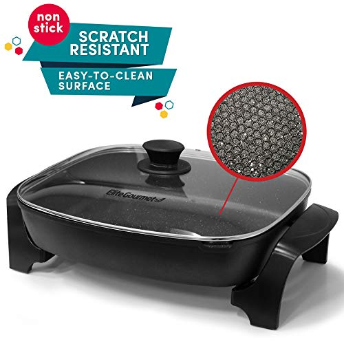 Electric Skillet with Tempered Glass Vented Lid