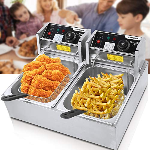 Commercial Deep Fryer for the Home with Dual Basket 3600W 12L Capacity Tank Stainless Steel Electric Countertop Deep Fryer Restaurant Family Food Cooking