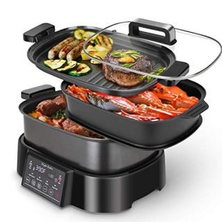 Programmable Slow Cooker with Countdown Timer, 6 L 6.3 Quart Multi-cooker with Steamer Tray, Grill Plate, Cooker pot 8-in-1 Preset Modes, Taylor Swoden