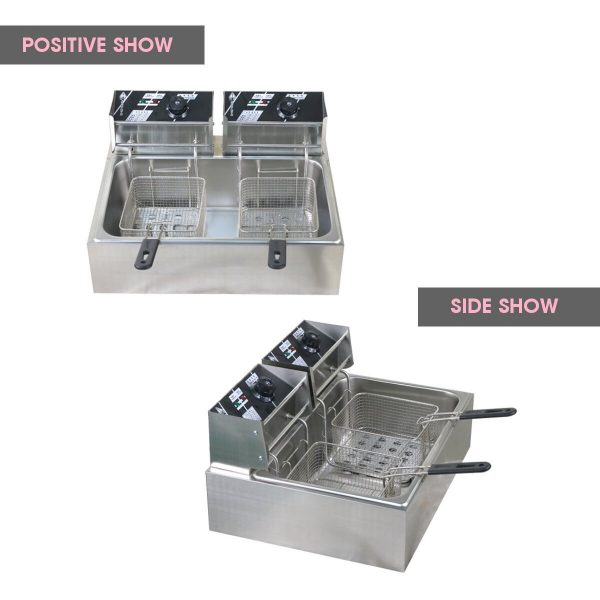 Double Oil Cylinder Electric Deep Fryer French Fries