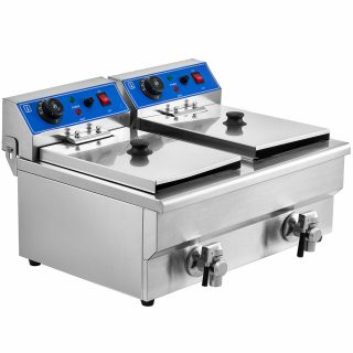 Electric Deep Fat Chip Fryer Dual Tank