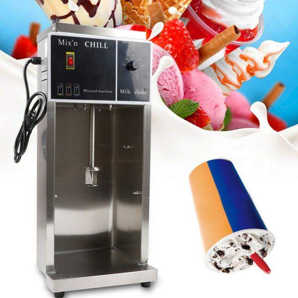 350W 110V Commercial Electric Ice Cream Machine Mixer Milkshake Blizzard Maker Blender for Restaurants w/ 3 Hand Cups