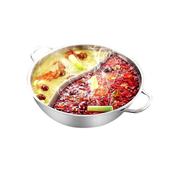 Yzakka Stainless Steel Shabu Hot Pot with Divider for Induction Cooktop Gas Stove, 30cm, Without Cover
