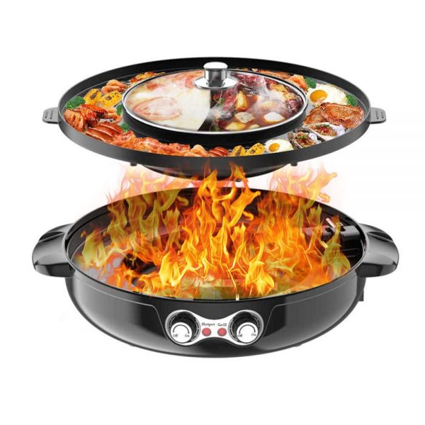 4.5L Removable Hot Pot Upgraded Electric Indoor Grill, 2200W 16.5 ft Separable Shabu Shabu 4.5L Hot Pot With Electric Indoor And Outdoor Korean BBQ Smokeless Grill Non-Stick Pan For Gatherings