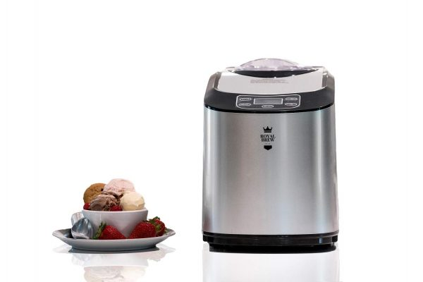 Royal Brew Ice Cream Maker 1.5 Quart Upright Stainless Steel Frozen Yogurt, Sorbet and Gelato Machine with Built-In Compressor (A1 Stainless Steel)