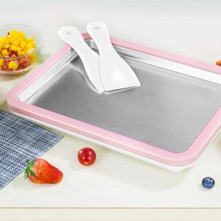 Ice Cream Pan, SEAAN Rolled Ice Cream Maker Fried Yogurt Milk Machine DIY Homemade Ice Cream Maker Frozen Yogurt Rectangle with 2 Spatulas, Pink