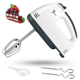 2020 New Electric Hand Mixer, 7 Speed Handheld Mixer, Portable Kitchen Blender Stainless Steel Egg Whisk with 2 Beaters, 2 Dough Hooks and Egg Separator for Baking, Cake & Cooking
