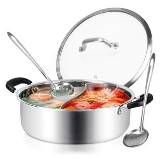 Hot Pot with Divider, Shabu Shabu Hot Pots Food Grade Stainless Steel Chinese Dual Sided Pot Set for Induction Cooktop Gas Stove