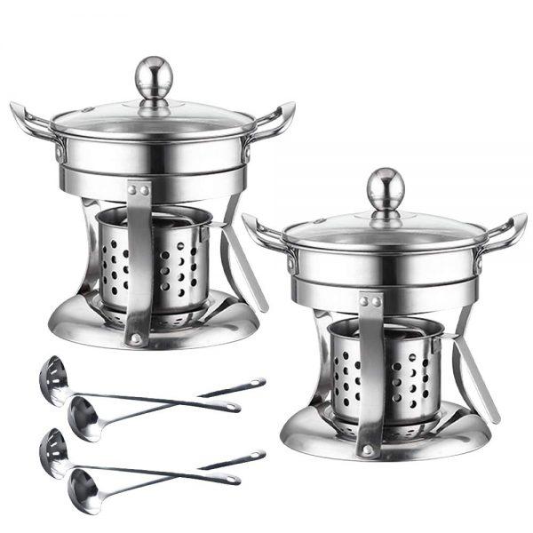 2 Pack Shabu hot pot Stainless Steel