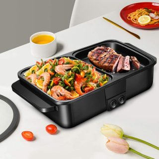 Electric Hot Pot with Grill SEAAN Shabu Shabu Korean BBQ Barbecue Smokeless Nonstick Indoor for Grilling Frying Baking Cooking Simmering 1200W for 1-2 People