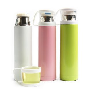 Stainless Steel Vacuum flask with Transparent Cover Thermos cup
