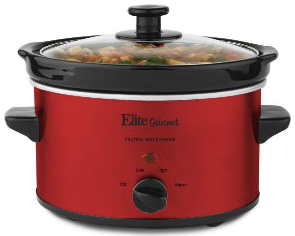 Elite Cuisine MST-275XR Electric Slow Cooker, Adjustable Temp, Entrees, Sauces, Stews & Dips, Dishwasher-Safe Glass Lid & Ceramic Pot, 2Qt Capacity, Metallic Red