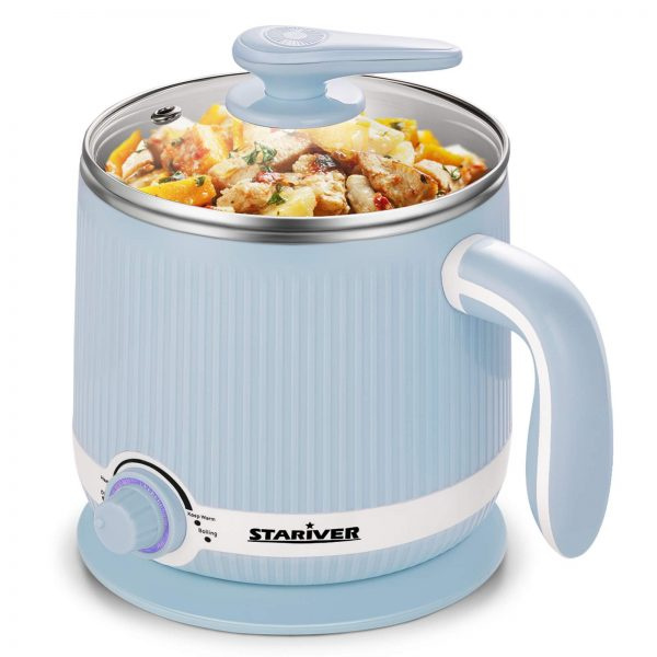 Stariver Electric Hot Pot, 2L Electric Cooker, Multi-Functional Mini Pot for Noodles, Soup, Porridge, Shabu Shabu, Eggs, Pasta with Keep Warm Function, Over Heating and Boil Dry Protection, Blue