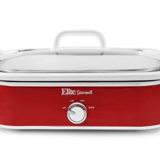 Elite Gourmet MST-5240 Casserole Crock Slow Cooker, Locking Lid Adjustable Temperature Keep Warm Oven & Dishwasher-Safe Casserole Pan, 3.5Qt Capacity, Red