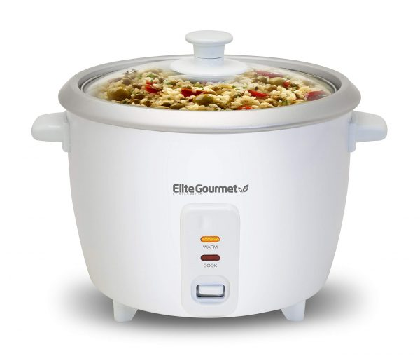 Elite Gourmet ERC-003 Electric Rice Cooker with Automatic Keep Warm Makes Soups, Stews, Grains, Hot Cereals, 6 Cups Cooked (3 Cups Uncooked), White