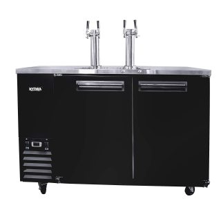 Commercial Dual Tap Kegerator, 58 Inches Beer Coolers Refrigerator with 4 Faucet, 17.3 Cu. Ft. Fridge with Digital Display for Restaurant Cafe Bar (33℉ to 38℉)