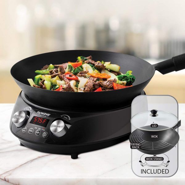 NUWAVE MOSAIC Induction Wok with 14-inch carbon steel wok with tempered glass lid; precision temperature control from 100F to 575F, Wattage control (600W, 900W & 1500W)