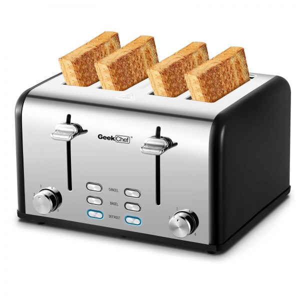 Toaster 4 Slice, Geek Chef Stainless Steel Extra-Wide Slot Toaster with Dual Control Panels of Bagel/Defrost/Cancel Function, 6 Toasting Bread Shade Settings, Removable Crumb Trays, Auto Pop-Up