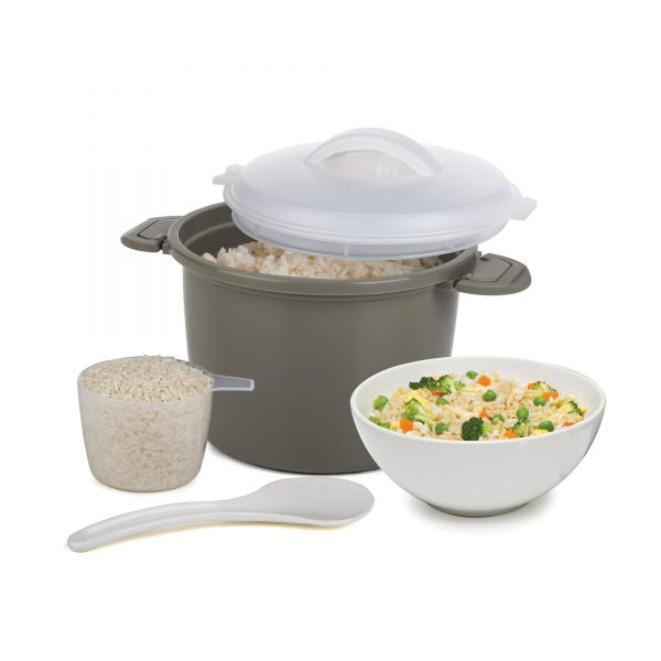 Progressive International Set Microwave Rice Cooker, 4 Piece, Gray