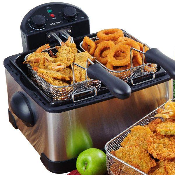 Secura 1700-Watt Stainless-Steel Triple Basket Electric Deep Fryer